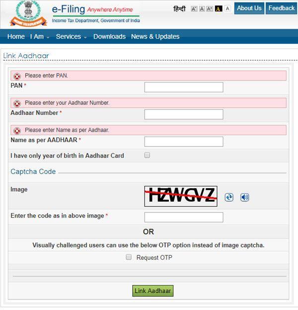 Linking PAN Card to Aadhaar Card
