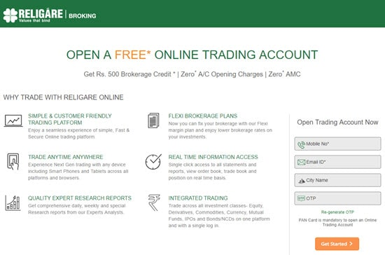 Religare Demat and Trading Account in India