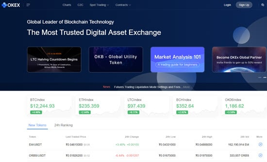 OKEx exchange for cryptocurrency